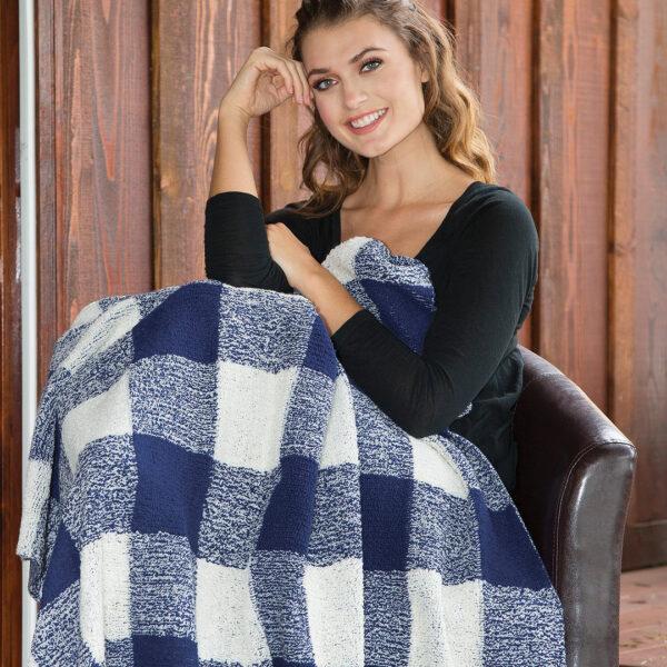 The Linen Mart Plaid Berber Blanket