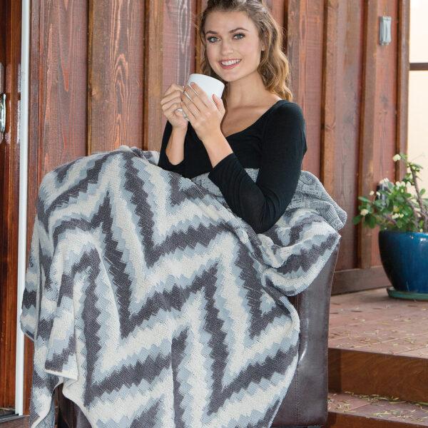The Linen Mart Chevron Berber Blanket