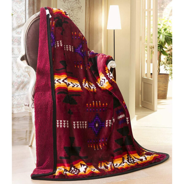 The Linen Mart Southwest Aztec Sherpa Borrego Aztec Burgundy