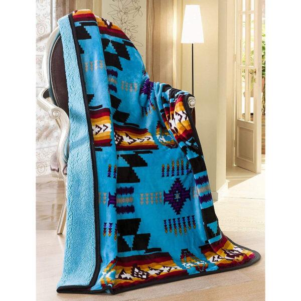 The Linen Mart Southwest Aztec Sherpa Borrego Aztec Turquoise